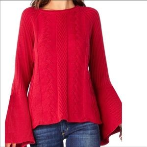 Michael Stars Red Bell Sleeve Knit Sweater Large